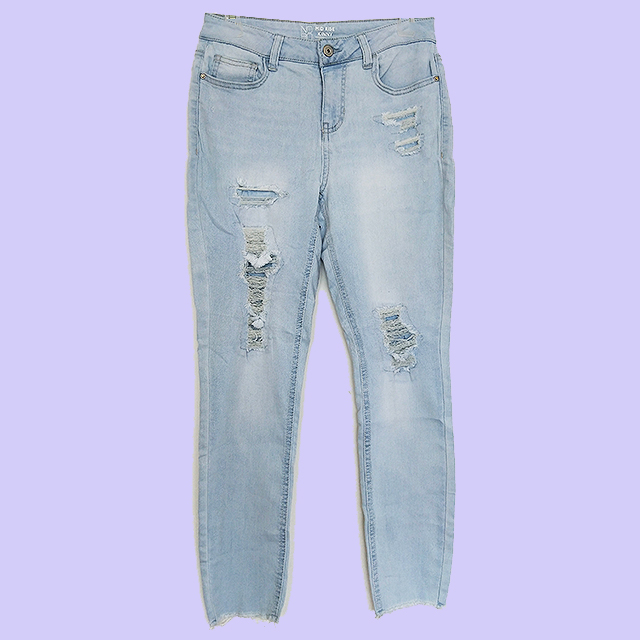 32416 -  Stock Ladies Ripped Slim Jeans Pants China